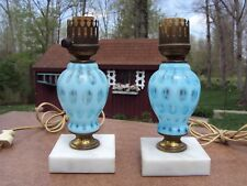 Pair of Vintage Fenton Opalescent Coin Dot Lamps on Marble Bases