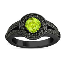 Green Peridot Engagement Ring 14k Black Gold Vintage Style 1.56 Carat Unique