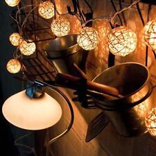 20 WARM WHITE Wicker Rattan LED String Fairy Light Lantern Wedding PartE