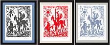 "3 Picasso Hand Signed Ltd Ed Prints ""Don Quixote"" Blk/Red/Blue w/COA (unframed)"