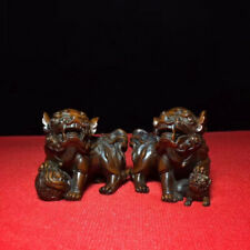Collectable Handwork Boxwood Carve Lion Playing Ball Auspicious Lucky Old Statue