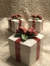 Set Of Three Fitz And Floyd Holiday Gift Boxes