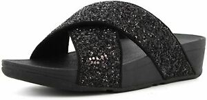 Fitflop Lulu Glitter Black Womens Cross Slides Sandals Flip Flops UK Size 3-8