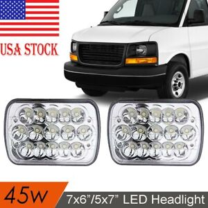 Pair 7x6'' 5x7 LED Headlight Hi/Low Beam For GMC Savana 1500 2500 3500
