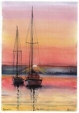 original painting A4 261LM art samovar watercolor seascape sunset Signed 2021