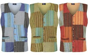 Mens Hippie Festival Patchwork Waistcoat up to plus size