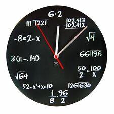 DCI Matte Black Powder Coated Metal Mathematics Blackboard Pop Quiz Clock 11-1/2