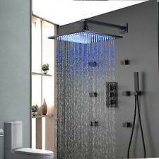 Thermostaic Shower Faucet 8 inch LED Rain Massager System Jet Oil Rubbed Bronze