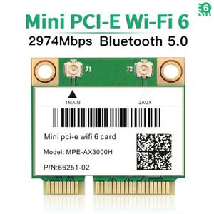 3000Mbps WiFi 6 Wireless Card  Dual Band Mini PCI-E Adapter BT5.0 for PC Laptops
