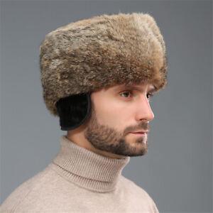 100% Real Rabbit Fur Hat Cap Earflap Thicken Winter Warm Outdoor Handsome Men