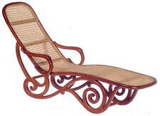 DOLLHOUSE MINIATURE Wicker Chaise Lounge Deck Chair 1900's  - Walnut 1:12