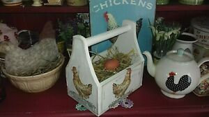 WOODEN STORAGE BOX TRUG EGGS MADE WITH LAURA  ASHLEY CHICKENS COUNTRY KITCHEN