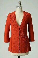Anthropologie cardigan sweater jacket medium 8 10 BLACK victorian corset style