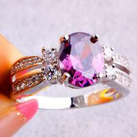Noble Women Amethyst & White Topaz Gemstones Lover Silver Ring Xmas Gift Jewelry