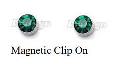 Green 5mm Magnetic Clip On Cubic Zirconia Earring Men Women Birthday Party Gift