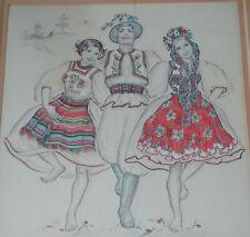 Grande aquarelle Génia Hadji Minache artiste russe signée état superbe curiosa !