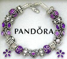 Authentic Pandora Silver Bracelet with Heart Purple Purple European Charms New