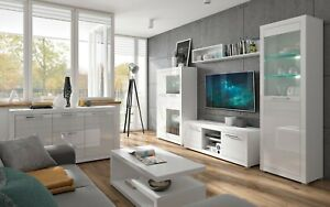 LIVING ROOM SET WHITE GLOSS MODERN DISPLAY GLASS CABINET TV UNIT COFFEE TABLE