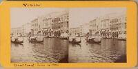 Grand Canal Ca' Oro Venezia Italia Foto Stereo PL55L2n Vintage Albumina c1880