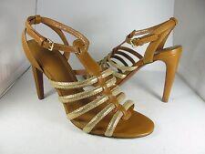 sz 10.5 NEW TORY BURCH Womens Brown/ gold Gladiator Sandals Charlene High Heel