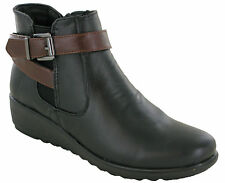 WOMENS ANKLE BOOTS WEDGE GUSSET SIDE ZIP CUSHION WALK SOFT COMFORT WORK SHOES