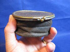 Rare French Antique Leather Collapsible Coin Purse Make DEPOSE