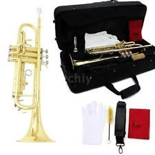 Trompete Bb B Flat Messing exquisit mit Mundstück Pinsel Reinigungstuch D1C4