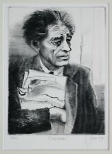 Black & White Portrait Etching by L Jones of  Alberto Giacometti Swiss Sculptor