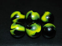 "Six 1998 HTF JABO YELLOW JACKET SWIRL MARBLES 3/4"" L-131"