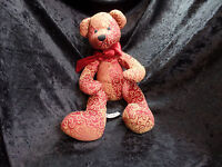 Rare Color Rich Red And Gold Teddy Bear Collectible Stuffed Animal Toy