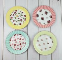 "Rosanna Set of 4 Mismatch Style Floral Stripe Dot Tea Party 8"" Desert Plates"