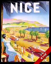 VINTAGE NICE FRANCE FRENCH RIVIERA VACATION TRAVEL AD POSTER ART CANVAS PRINT