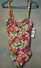 NEW WITH TAGS  ANNE COLE COLLECTION 1PC SWIMSUIT MULTI BANDEAU SZ 8