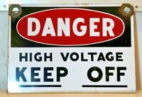 """Vintage, original 1960's Porcelain Enamel sign """"Danger — High Voltage, Keep Off"""""""