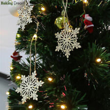 10pcs Tree Hanging Wood Snowflake Ornaments Merry Christmas Home Decoration