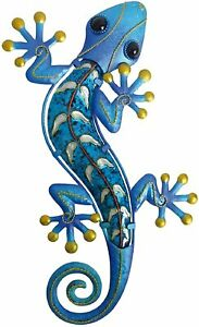 Creekwood Gecko Metal Outdoor Garden Lizard Wall Art Decoration - Large - Blue