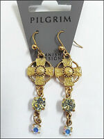 NEW PILGRIM GOLD PLATED EARRINGS SWAROVSKI CRYSTALS ENAMEL CROSS DROP DANGLE .,