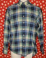 Vineyard Vines Men's Button Up Whale Shirt Plaid Blue Long Sleeve Size XS