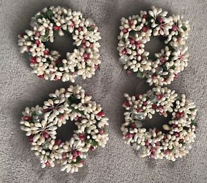 4 Antq Candle Sleeve Wreaths French wax Lucite Floral tape & Fabric Handmade