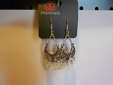 Paparazzi Earrings (new) ASK FOR THE MOON - CLEAR YELLOW BEADS ON SILVER/BLACK