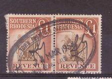 S.RHODESIA, PAIR £2 REVENUE STAMPS GOOD USED.