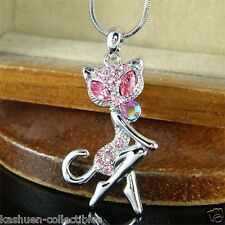 ~PINK Kitty Cat made with Swarovski Crystal Kitten Animal Jewelry Charm Necklace