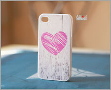 iPhone 4 4s CUSTOM DESIGN CASE HIGH QUALTY pink scratched heart on wood print