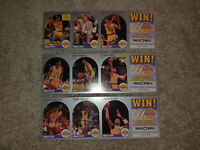 (10) 1990 Hoops Taco Bell Lakers 9 Card UNCUT Set Magic Johnson MVP & Divac RC