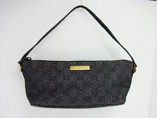 Auth GUCCI GG Canvas Leather Accessory Pouch Pochette Mini Hand Bag Italy (j