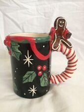Nicole Engblom Mug Gingerbread man Candy Cane Handle Christmas Coffee Mug