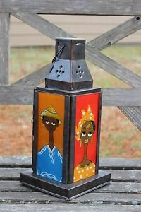 Rustic Fixe Reverse Glass Colorful Portrait Lantern African Handcrafted Senegal