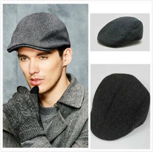 Mens Flat Cap Gatsby Tweed Baker Boy Hat Herringbone Newsboy Peaky Blinders 59cm