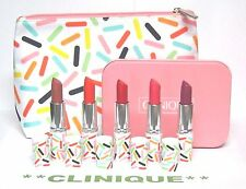 CLINIQUE 7-pc Long Last Lipstick Gift Set in PINK Tin Case w/ Matching Bag NEW
