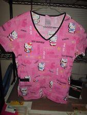 Hello Kitty Adult Size XS Pink Nurse Hospital Scrub Uniform Top London New york